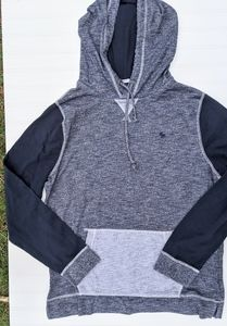 A&F Navy Colorblocked Knit Hoodie
